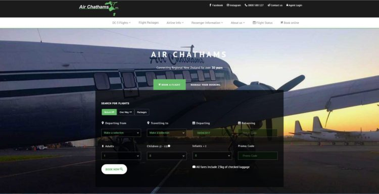Airchathams Website in ASP .NET